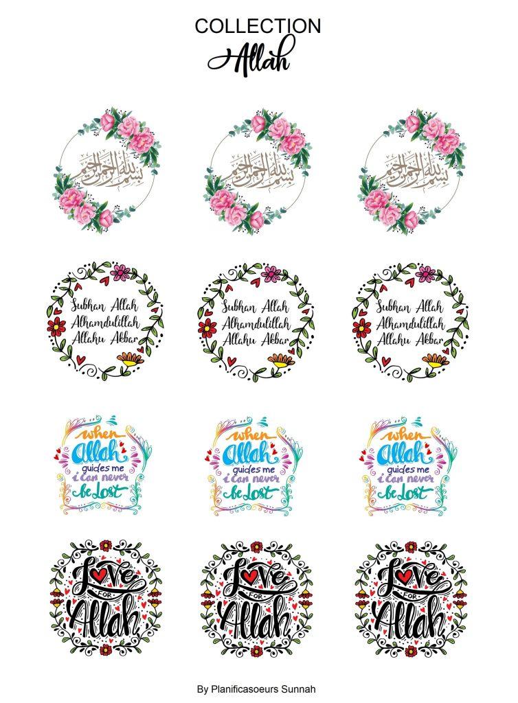 Planches de stickers pour planners muslim Allah