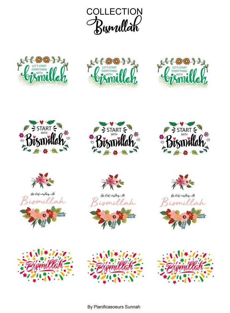 Planches de stickers muslim bismillah planners