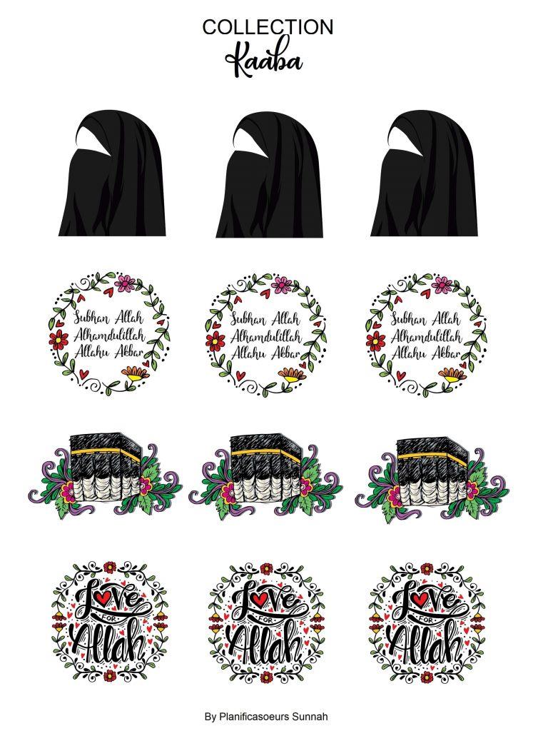 Planches de stickers muslim kaaba hajj planners