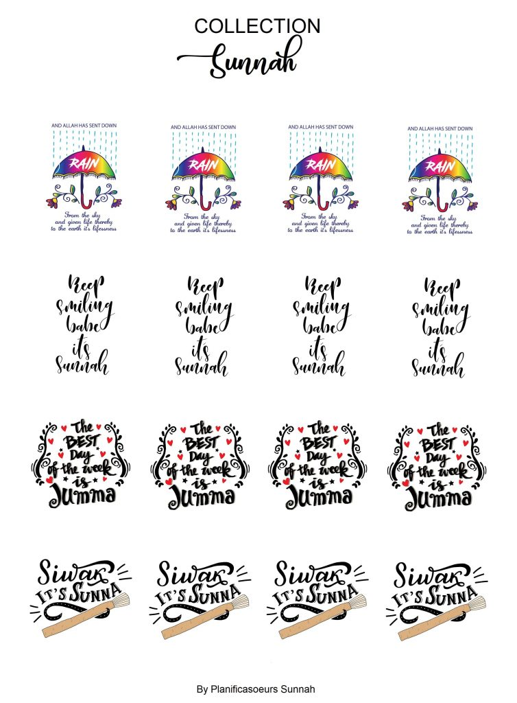Planches de stickers muslim sunnah planners