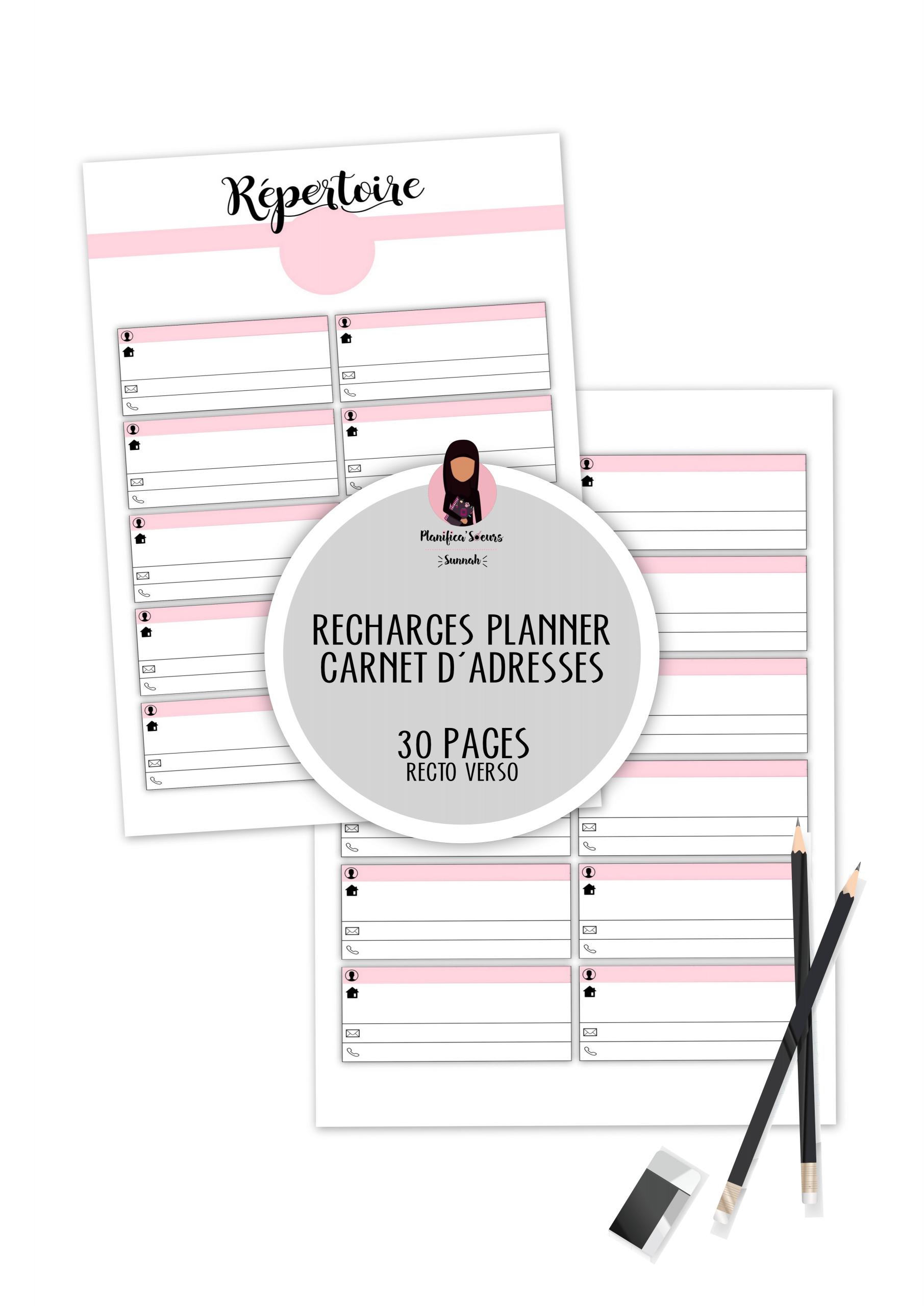 recharge planner carnet d'adresses repertoire