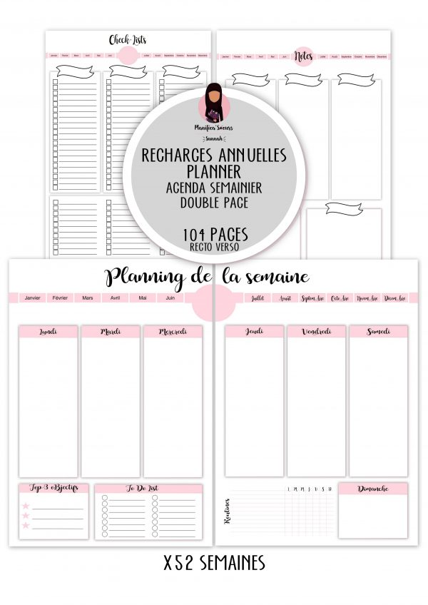 recharges planner semainier double page-min