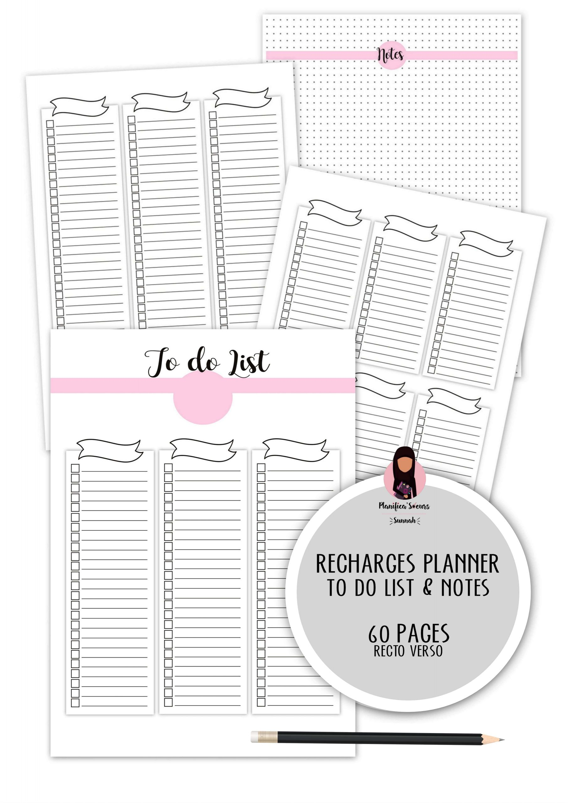 recharge planner to fo list check list notes
