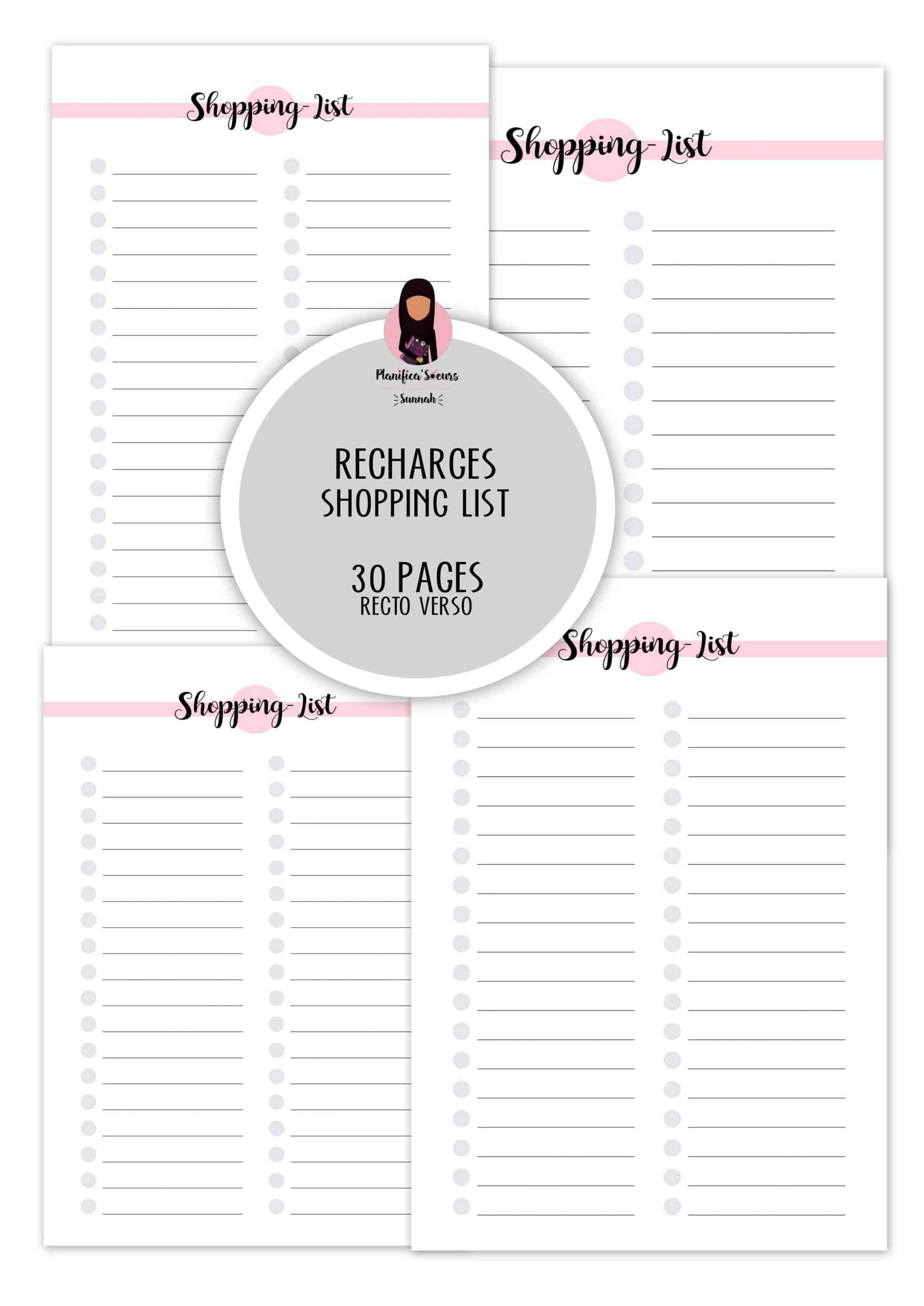 Recharge planner shopping list planificasoeurs sunnah