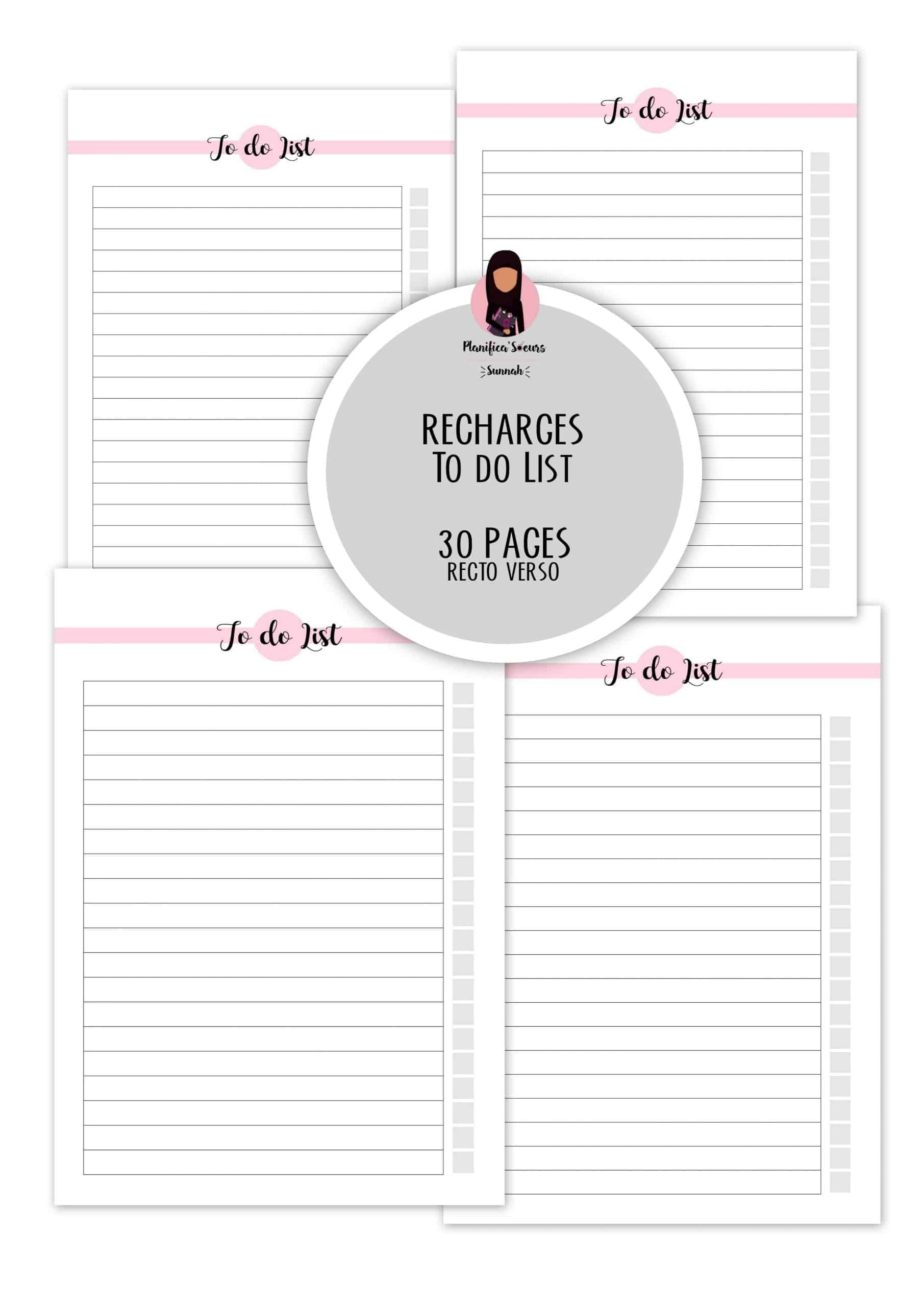 recharge planner to do list planificasoeurs sunnah