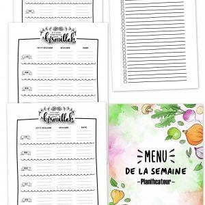 PLANIFICATEUR MENU carnet menu semaine cahier agenda planner planificasoeurs sunnah