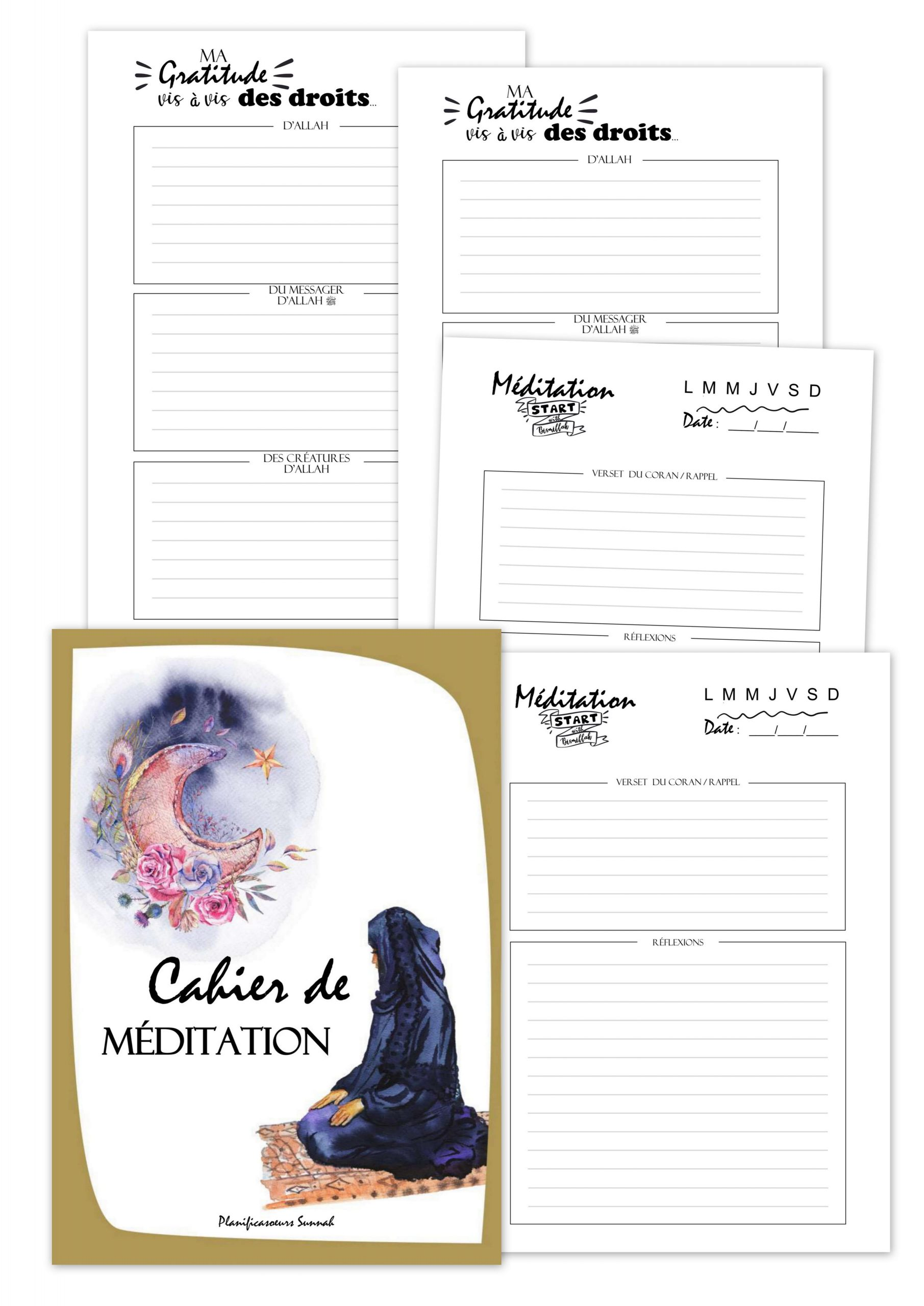 carnet cahier de méditation muslim planificasoeurs sunnah