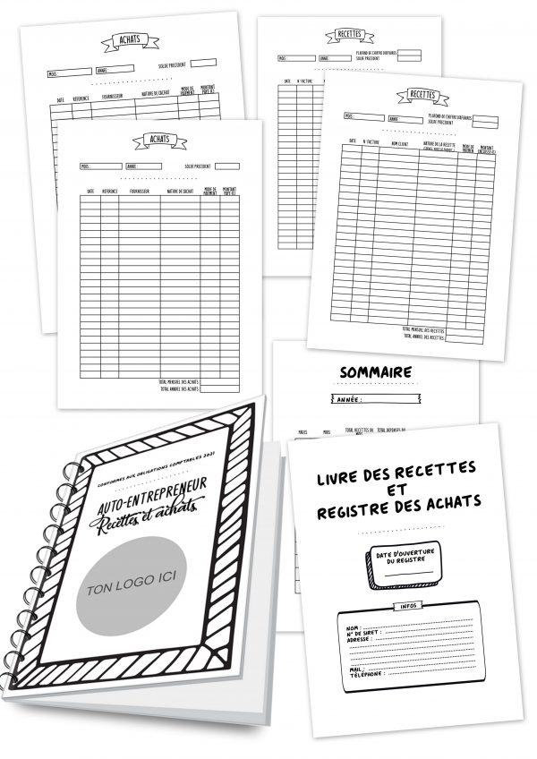livre cahier carnet recettes achats comptes professionnels auto entrepreneur business personnalisé personnalisable planificasoeurs sunnah
