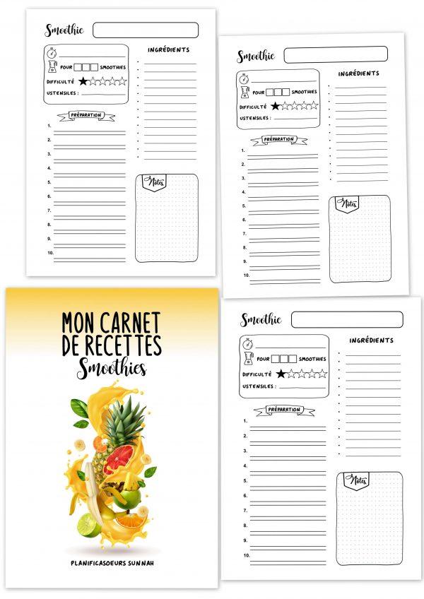 carnet cahier planner recettes à compléter smoothies planificasoeurs sunnah